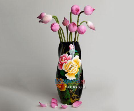 Bộ bàn ăn men kem vẽ hoa đào đỏ 10 người - số 1 BBA27-7