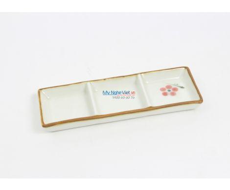 Khay gia vị 3 ngăn men xanh trắng vẽ hoa đào MNV-BA26-7/1