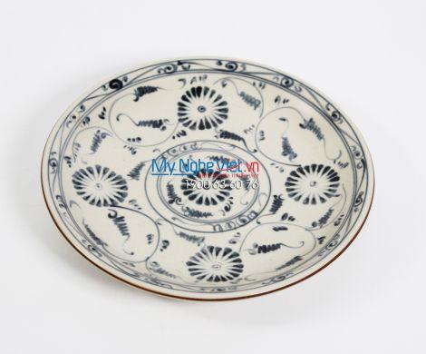 Đĩa tròn gốm Bát Tràng hoa văn cúc xanh MNV-BOA01-4