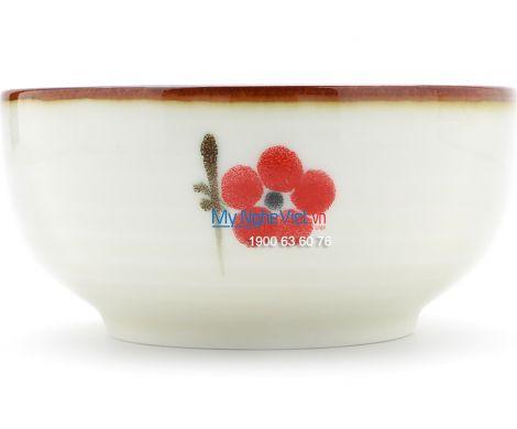Chén ăn cơm kiểu Nhật men trắng láng vẽ hoa đào MNV-BA02-7