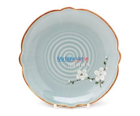 Đĩa hoa men xanh láng vẽ hoa đào BA09-6