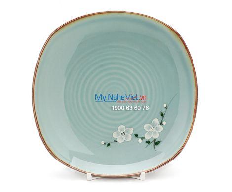 Đĩa ảo vuông men xanh láng vẽ hoa đào BA12-6