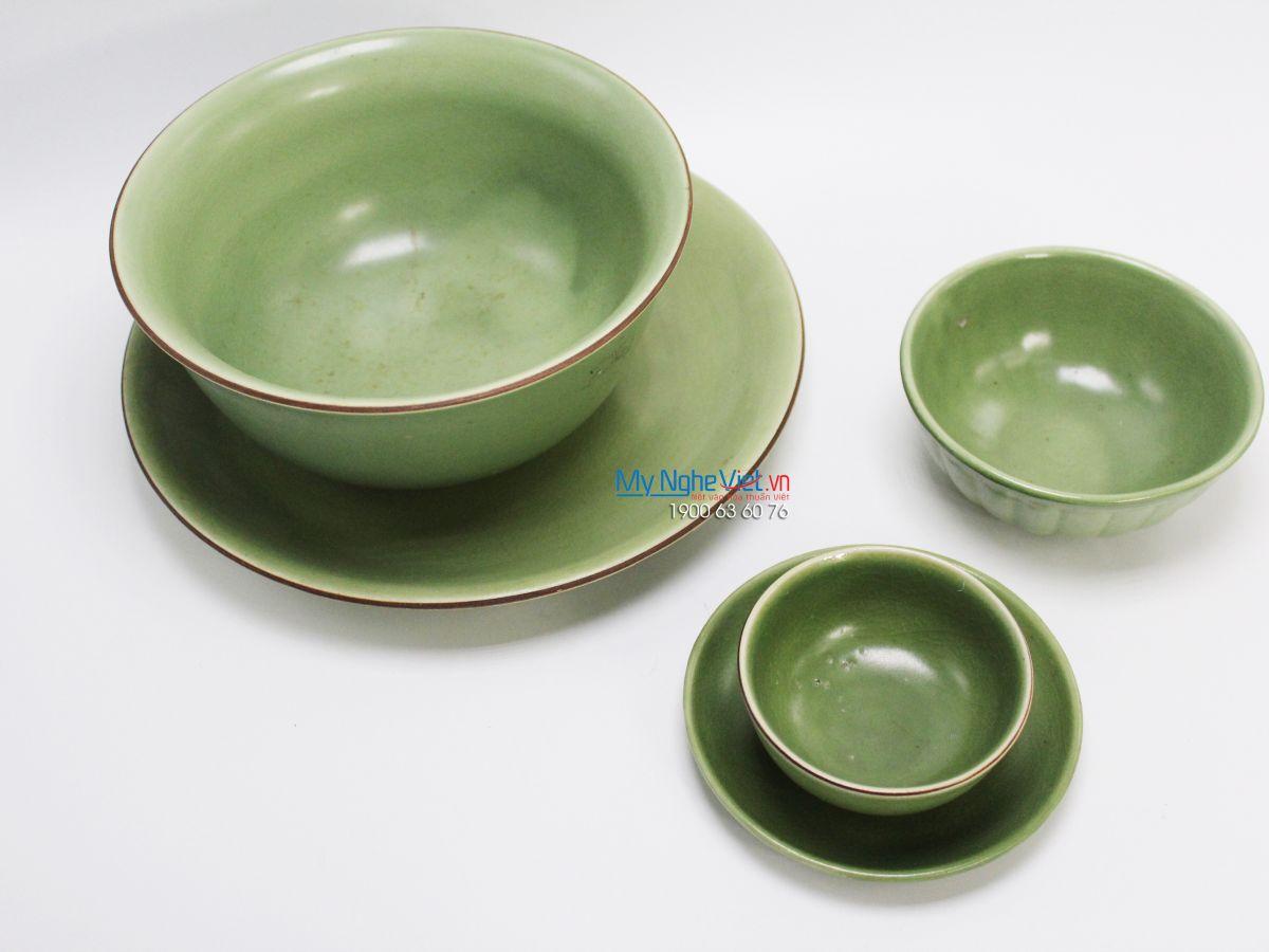 Bộ chén dĩa bàn ăn men xanh lá gốm Bát Tràng MNV-BBA04