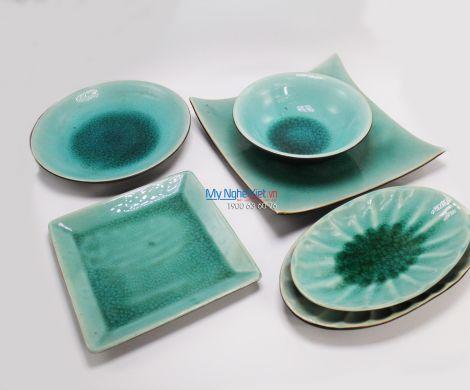 Bộ bàn ăn gốm Bát Tràng men thủy tinh MNV-BBA05