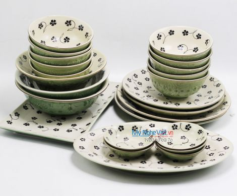 Bộ bàn ăn Bát Tràng men xanh đồng vẽ hoa sao MNV-BBA4