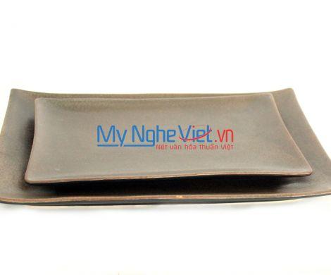 Khay chữ nhật men nâu MNV-MN03 (nhiều size)