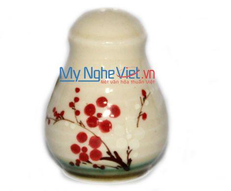 Hũ đựng tiêu men láng vẽ hoa đào MNV-HD23