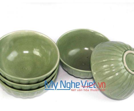 Chén cơm men xanh lá gốm Bát Tràng MNV-BOA24