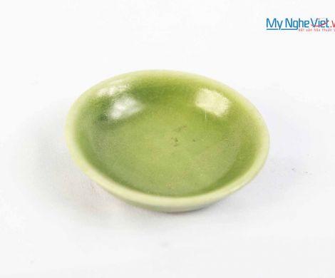 Đĩa muối nhỏ men xanh gốm Bát Tràng MNV-BOA26