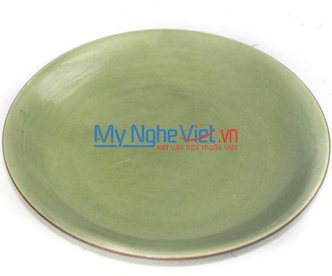 Đĩa tròn men xanh lá gốm Bát Tràng MNV-BOA28