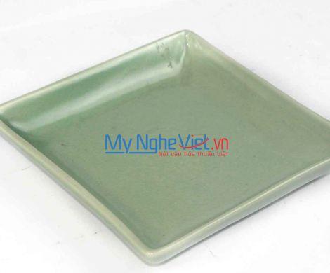 Đĩa vuông sâu gốm men xanh Bát Tràng MNV-BOA29