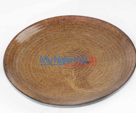 Đĩa tròn gốm men nâu Bát Tràng MNV-BOA43