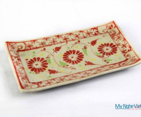 Đĩa chữ nhật khăn ăn gốm Bát Tràng hoa văn hoa cúc đỏ MNV-BOA17
