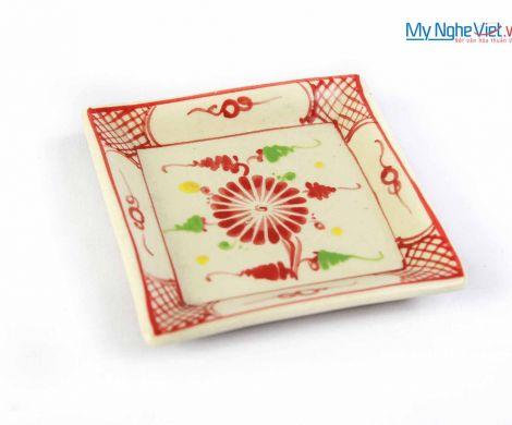 Đĩa vuông vát gốm Bát Tràng hoa văn hoa cúc đỏ MNV-BOA19