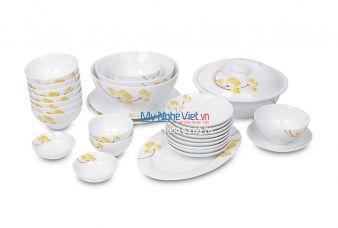 Bộ bàn ăn men trắng vẽ sen vàng