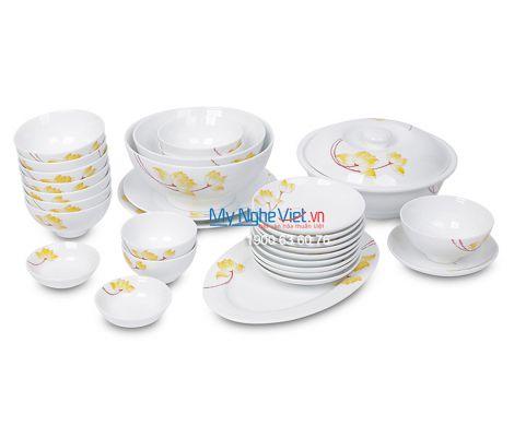 Bộ bàn ăn men trắng vẽ sen vàng dành cho 10 người MNV-BBA02-9