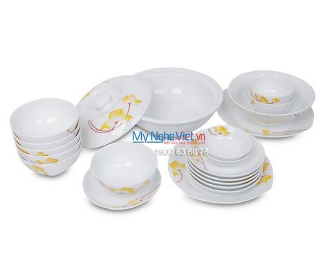 Bộ bàn ăn men trắng vẽ sen vàng dành cho 6 người MNV-BBA01-9