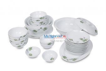 Bộ bàn ăn men trắng vẽ hoa văn </p>gốm Bát Tràng