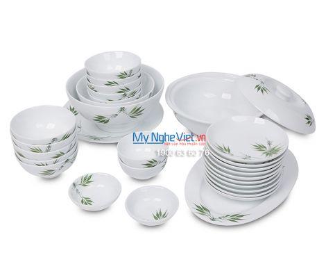 Bộ bàn ăn men trắng vẽ trúc xanh dành cho 10 người MNV-BBA02-8
