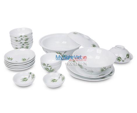 Bộ bàn ăn men trắng vẽ trúc xanh dành cho 6 người MNV-BBA01-8