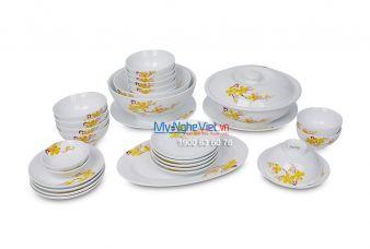 Bộ bàn ăn men trắng vẽ hoa mai