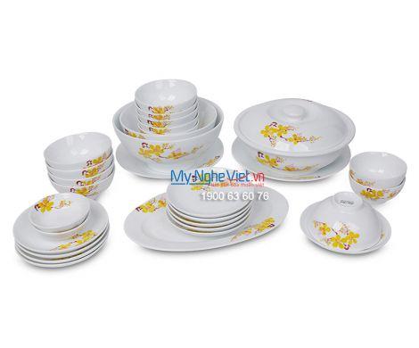 Bộ bàn ăn men trắng vẽ hoa mai dành cho 10 người MNV-BBA02-16