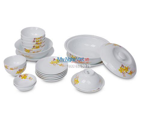 Bộ bàn ăn men trắng vẽ hoa mai dành cho 6 người MNV-BBA01-16