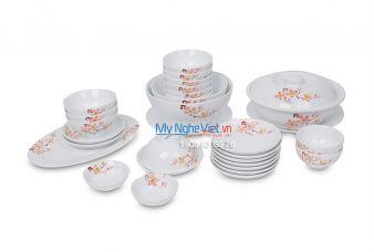 Bộ bàn ăn men trắng vẽ hoa đào