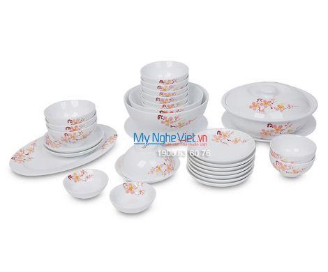 Bộ bàn ăn men trắng vẽ hoa đào dành cho 10 người MNV-BBA02-10