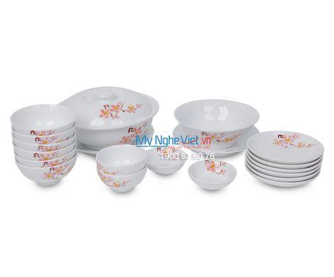 Bộ bàn ăn men trắng vẽ hoa đào dành cho 6 người MNV-BBA01-10