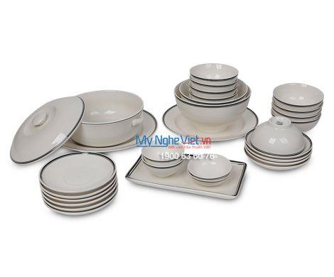 Bộ bàn ăn men trắng kẻ viền đen dành cho 10 người MNV-BBA02-14