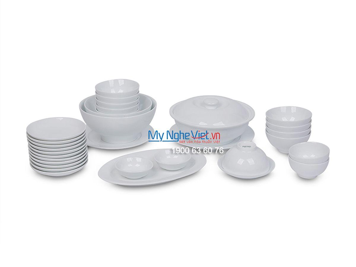 Bộ chén dĩa bàn ăn men trắng dành cho 10 người MNV-BBA02-12