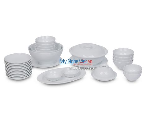 Bộ bàn ăn men trắng dành cho 10 người MNV-BBA02-12
