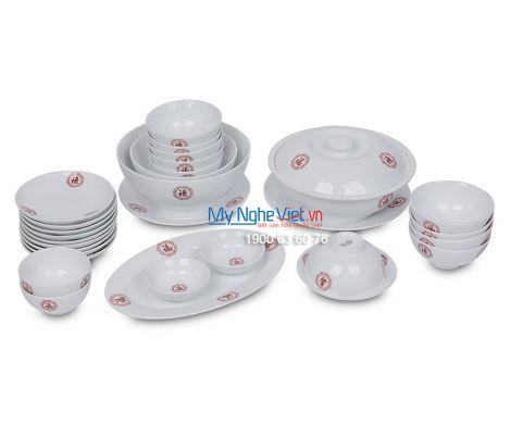 Bộ bàn ăn men trắng vẽ Phúc-Lộc-Thọ dành cho 10 người MNV-BBA02-13