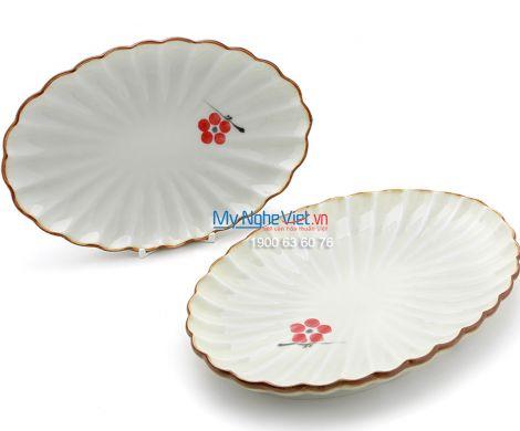 Đĩa bầu dục men trắng láng vẽ hoa đào MNV-BA11-7
