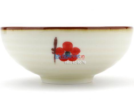 Bát súp men trắng láng vẽ hoa đào MNV-BA05-7