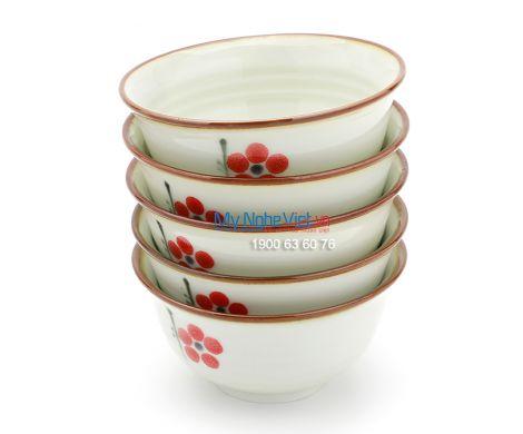 Chén ăn cơm men trắng  láng vẽ hoa đào MNV-BA01-7