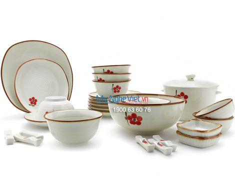 Bộ bàn ăn men trắng kem vẽ hoa đào đỏ 6 người  MNV-BBA01-7