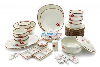 Bộ bàn ăn men trắng  láng vẽ hoa đào