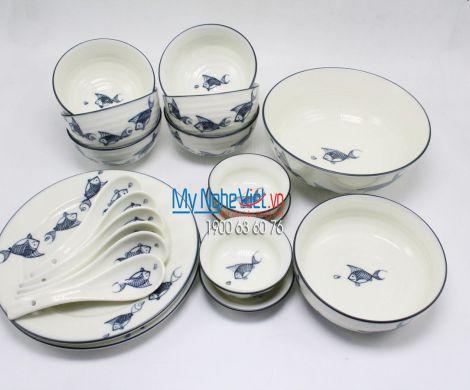 Bộ bàn ăn 6 người MNV-BBA02/cá xanh