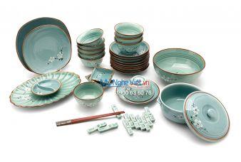 Bộ bàn ăn men xanh láng vẽ hoa đào