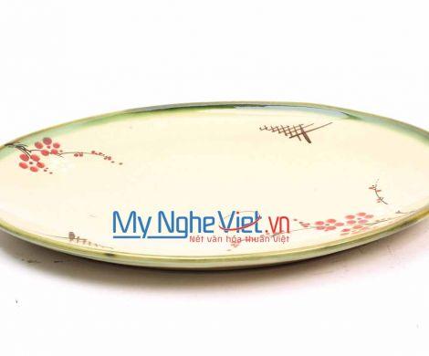 Đĩa Bầu Dục Men Láng Vẽ Đào MNV-HD37