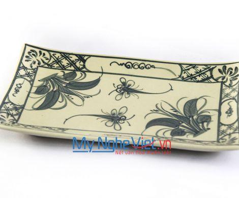 Đĩa chữ nhật gốm Bát Tràng hoa văn chuồn chuồn MNV-BOA02-2