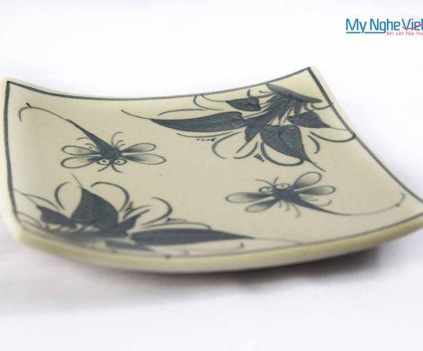Đĩa vuông gốm Bát Tràng hoa văn chuồn chuồn xanh MNV-BOA03-3