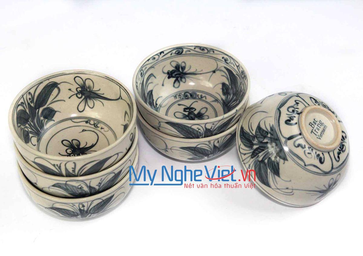 Bộ 6 Chén cơm gốm Bát Tràng họa tiết chuồn chuồn xanh MNV-BOA05-1