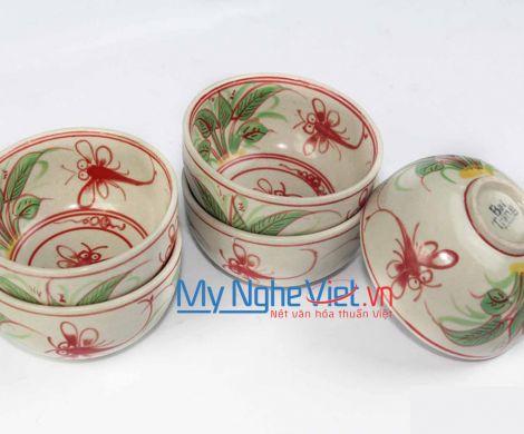 Chén cơm gốm Bát Tràng họa tiết chuồn chuồn đỏ MNV-BOA05-3