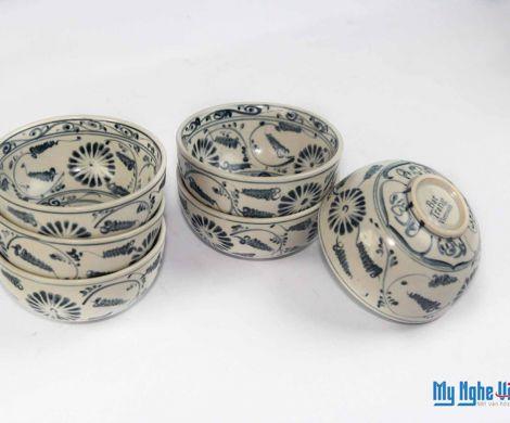 Chén cơm gốm Bát Tràng họa tiết hoa cúc xanh  MNV-BOA05