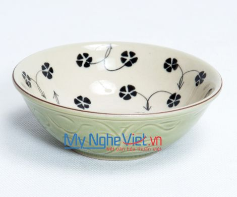 Đĩa muối F8.5 men xanh đồng vẽ hoa sao MNV-MXH03