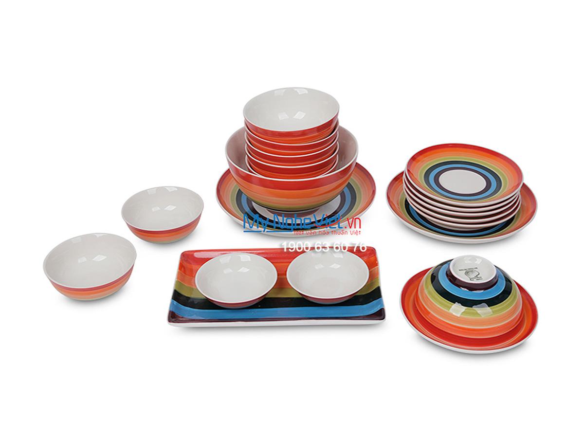 Bộ chén dĩa bàn ăn cầu vòng dành cho 6 người MNV-BBA01-15