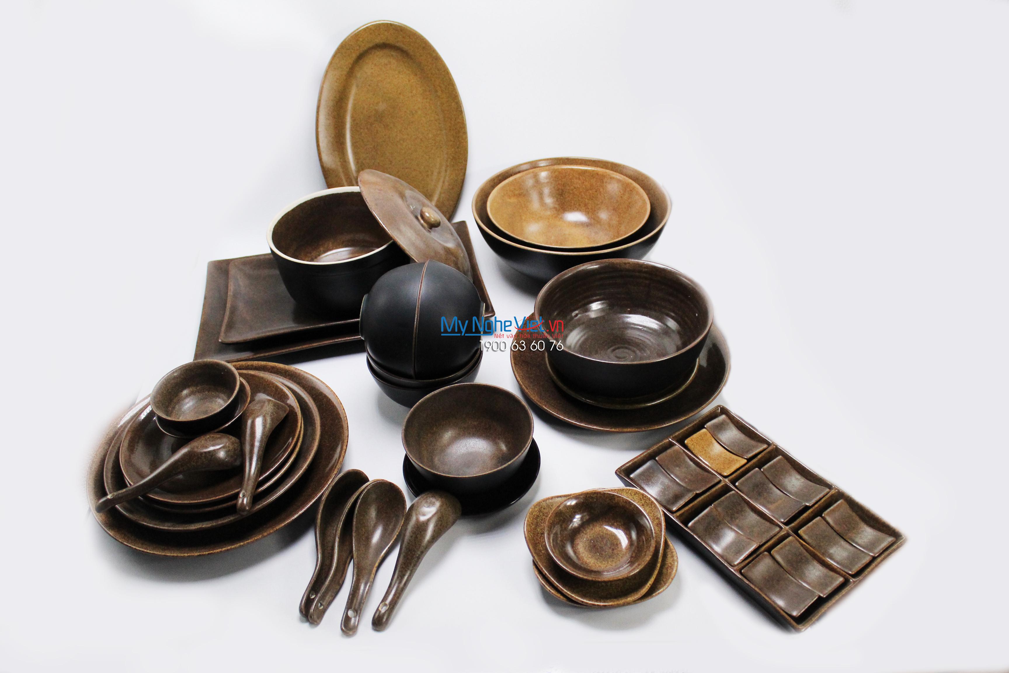 Bộ chén dĩa bàn ăn men nâu gốm MNV-BBA03